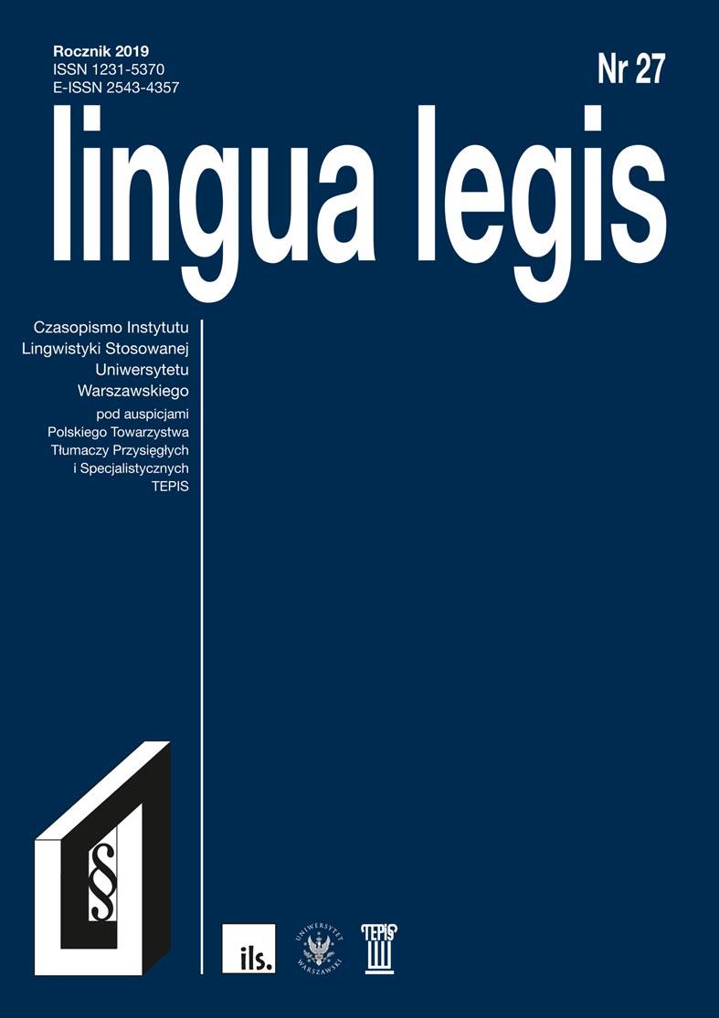 Wyświetl Nr 27 (2019): Lingua Legis 27/2019
