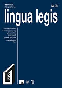 Wyświetl Tom 1 Nr 28 (2020): Lingua Legis 28/2020